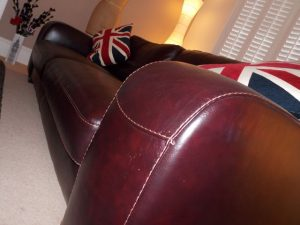 Brown leather sofa cleaned and nourished. Sofa Cleaning Chelmsford